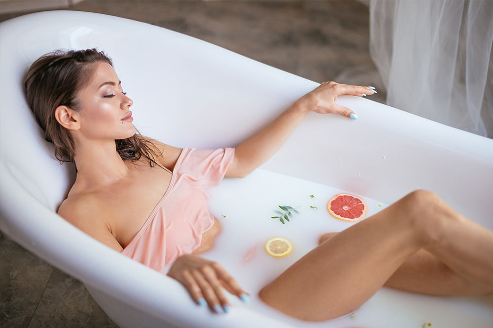Bathtime Skin Pampering. Bathing as a Way of Getting an Amazing Body
